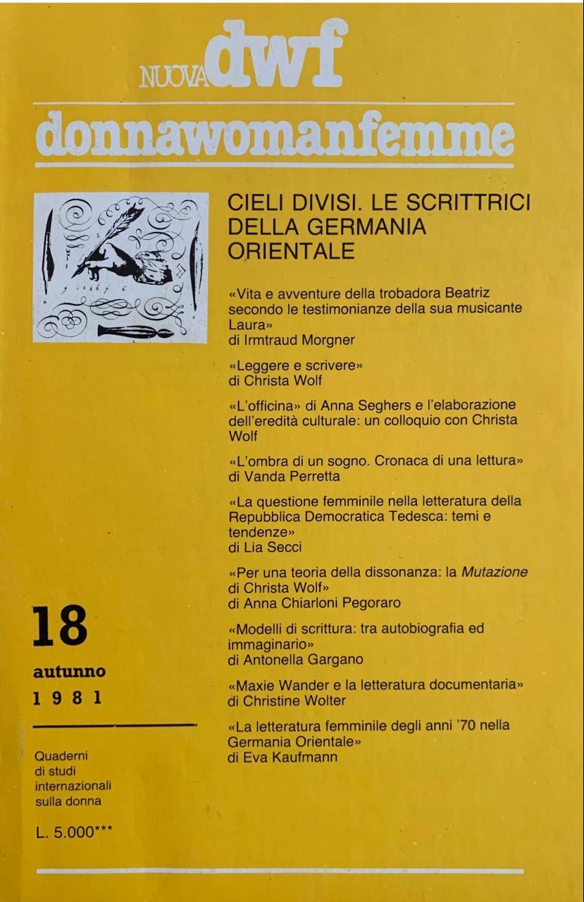 CIELI DIVISI. Le scrittrici della Germania Orientale, Nuova DWF (18) 1981