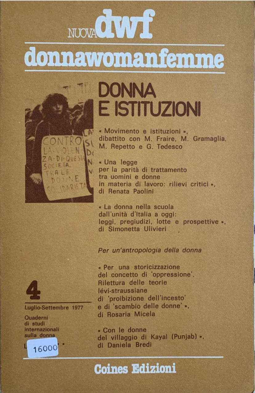 DONNA E ISTITUZIONI, Nuova DWF (4) 1977