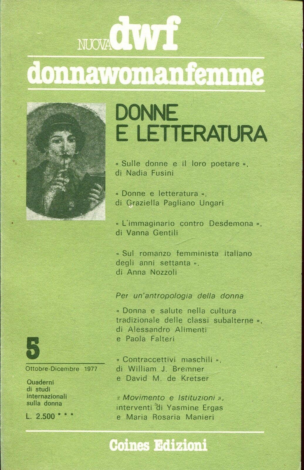 DONNA E LETTERATURA, Nuova DWF (5) 1978